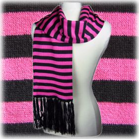 Pink & Black Striped Scarf