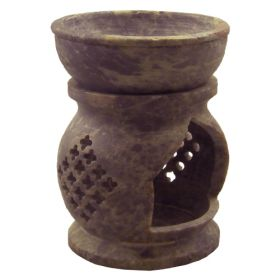 Jali Carved Soapstone Oil Burner - Large