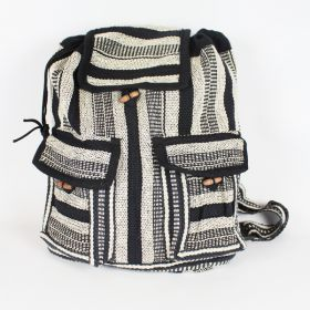 Two Pocket Woven Backpack - Black & White