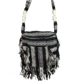 Woven Tassel Bag - Black & White
