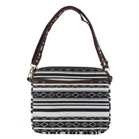 Woven Tablet Bag - Black & White