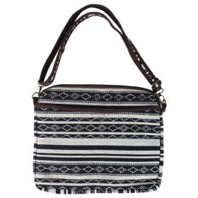 Woven Laptop Bag - Black & White