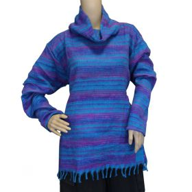 Super Soft Roll Neck Jumpers - Purple/Blue