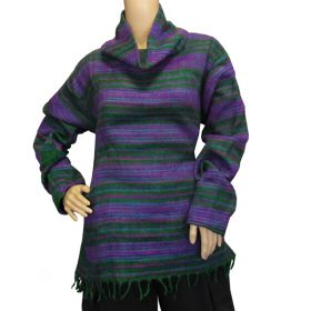 Super Soft Roll Neck Jumpers - Green/Purple