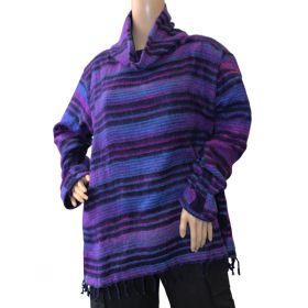 Super Soft Roll Neck Jumpers - Purple/Navy