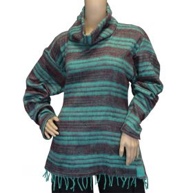 Super Soft Roll Neck Jumpers - Turquoise/Earth