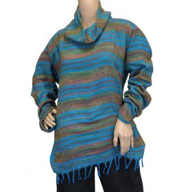 Super Soft Roll Neck Jumpers - Blue Rainbow