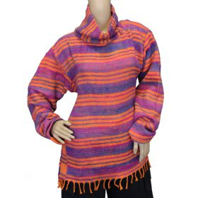 Super Soft Roll Neck Jumpers - Orange/Purple