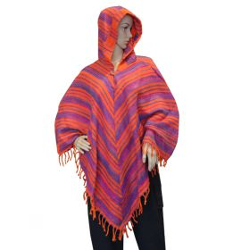 Super Soft Tassel Ponchos - Orange/Purple