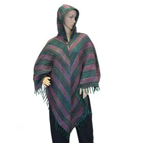 Super Soft Tassel Ponchos - Green Rainbow