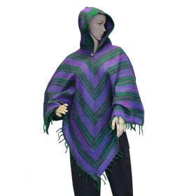 Super Soft Tassel Ponchos - Green/Purple