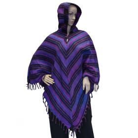 Super Soft Tassel Ponchos - Purple/Navy