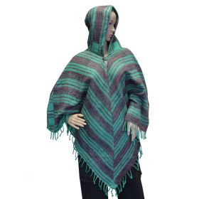 Super Soft Tassel Ponchos - Turquoise/Earth