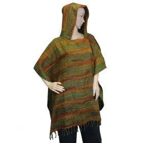 Super Soft Hooded Ponchos - Green/Earth