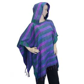 Super Soft Hooded Ponchos - Green/Purple