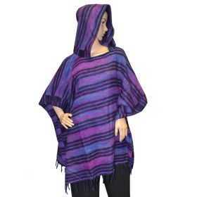 Super Soft Hooded Ponchos - Purple/Navy