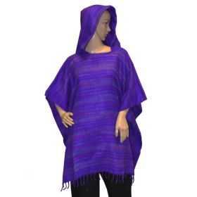 Super Soft Hooded Ponchos - Bright Purple