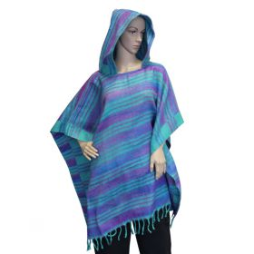 Super Soft Hooded Ponchos - Turquoise/Purple