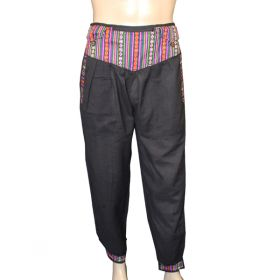 Bhutan Trimmed Black Cotton Trousers - Large