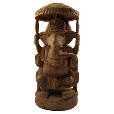 Hand Carved Wooden Lord Ganesh Statue