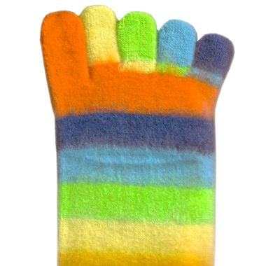 Toe Socks - Fluffy Rainbow
