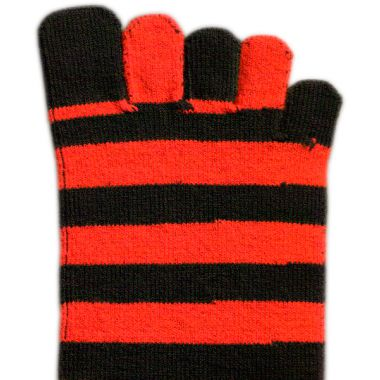 Toe Socks - Red & Black